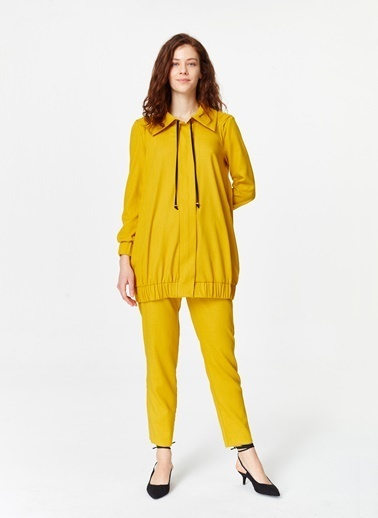 Mizalle Regular Yaka Ceket  Sarı